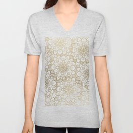 Elegant Hand Drawn Faux Gold White Floral Illustration Unisex V-Neck