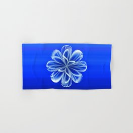 White Bloom on Blue Hand & Bath Towel
