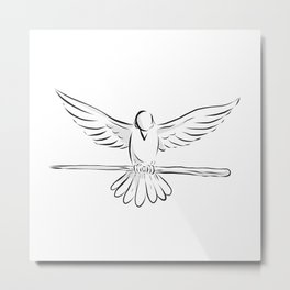 Soaring Dove Clutching Staff Front Drawing Metal Print
