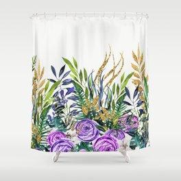 Gold Glitter Purple Garden Shower Curtain
