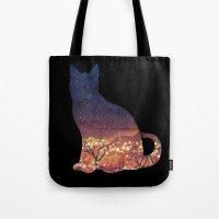 space cat Tote Bags featuring Space Cat by dan elijah g. fajardo