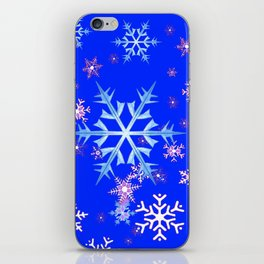 DECORATIVE BLUE  & WHITE SNOWFLAKES PATTERNED ART iPhone Skin