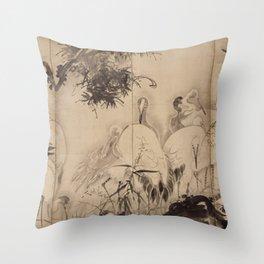 Soga Shōhaku - Horses and Cranes Throw Pillow