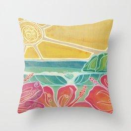 Triple Hibiscus Surf Art by Lauren Tannehill Art Throw Pillow