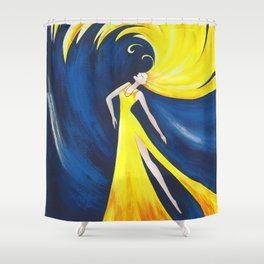 Abstract Wave Girl Shower Curtain