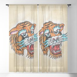 Fierce Tiger - Traditional Tattoo Design Sheer Curtain