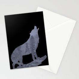 Wolf Silhouette Modern Country Art Modern Farmhouse Art Matted Picture USA A066b Stationery Cards