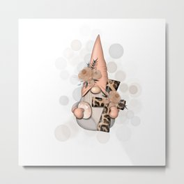 Gnome With Cross Metal Print