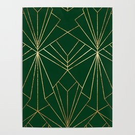 Art Deco in Gold & Green - Large Scale Poster