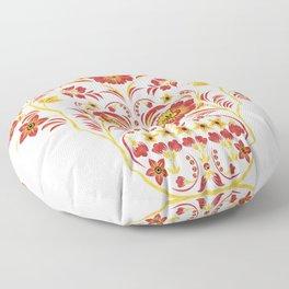 Skull Khokhloma Floor Pillow