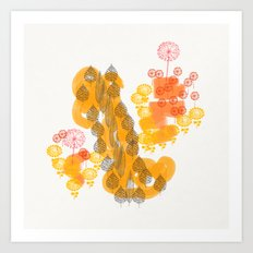 Flowers and Leaves Abstract - Orange Art Print