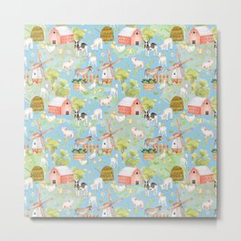 Farm Life - Little Cute Animals In A Meadow - On Blue  Metal Print