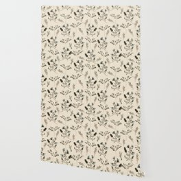 Ivory Cream and Bluebells and Bluebirds Floral Pattern Flowers in Blue and Bark Brown Wallpaper