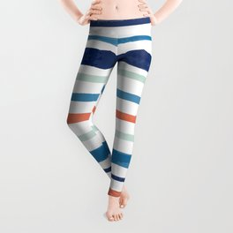 Blue & Orange Watercolor Stripes Leggings