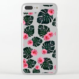 Tropical pattern n.1 - grey Clear iPhone Case