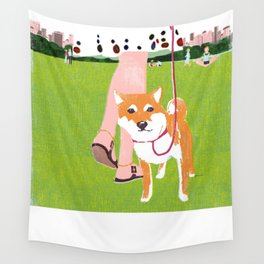 Shiba inu in Central Park Wall Tapestry
