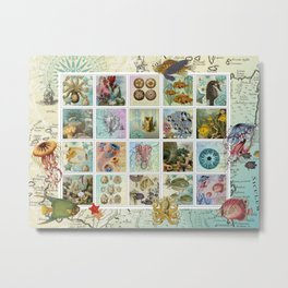 Undersea Garden Postal Collage Metal Print