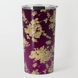 Chic faux gold burgundy ombre watercolor floral Travel Mug
