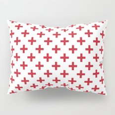 Criss Cross | Plus Sign | Red and White Pillow Sham