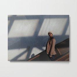 Man Heading Down The Escalator Metal Print