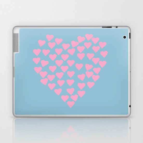 Hearts Heart Pink on Blue Laptop & iPad Skin