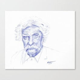 Mark Twain Portrait in Blue Bic Ink Canvas Print