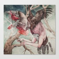 "cartoon Canvas Prints featuring ""Insatiable"", as a print by Caitlin Hackett"