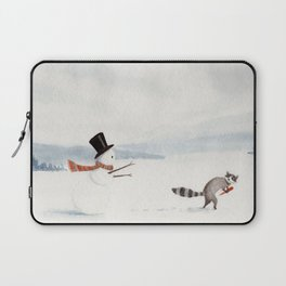 Snowman and Raccoon Laptop Sleeve