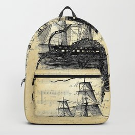 Kraken Octopus Attacking Ship Multi Collage Background Backpack