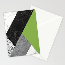 Black and White Marbles and Pantone Greenery Color Stationery Cards