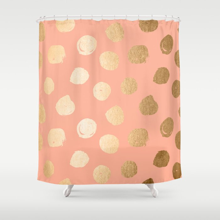 Sweet Life Polka Dots Peach Coral Orange Sherbet Shimmer Shower Curtain