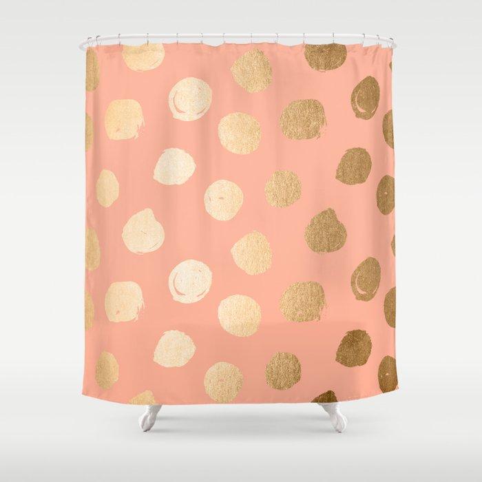Sweet Life Polka Dots Peach Coral + Orange Sherbet Shimmer Shower ...