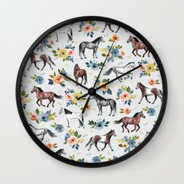 Horses and Flowers Pattern, Floral Horses, Hand-Painted, Horse Love, Watercolor, For Girls Wall Clock