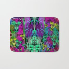 Sugar Skull and Girly Corks (psychedelic, abstract, halftone, op art) Bath Mat