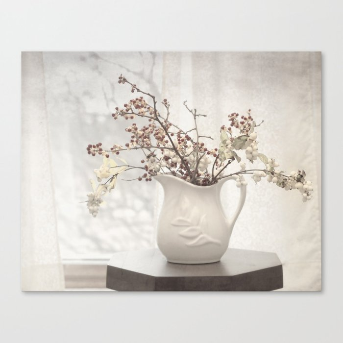 Berries in White Vase Canvas Print