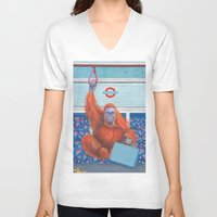 frank V-neck T-shirts featuring Frank by Sarah Underwood Illustration