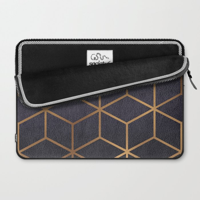 Dark Purple and Gold - Geometric Textured Gradient Cube Design Laptop Sleeve