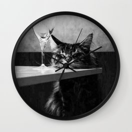 The Nightwatch Cat at the Absinthe bar black and white photograph / art photography Wall Clock