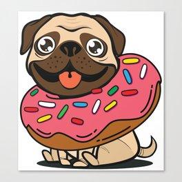 Pug & Donut Canvas Print