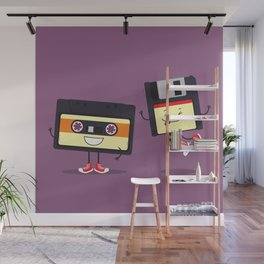Floppy disk and cassette tape Wall Mural