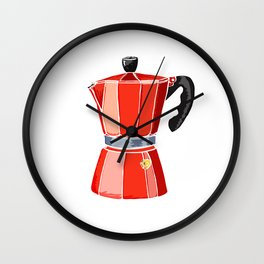 Red Italian Stove-Top Cafetiere Wall Clock
