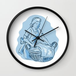 Laundry Maid Basket Vintage Etching Wall Clock