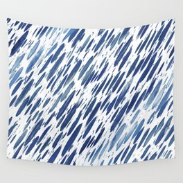 Boho Blue Brushstroke Wall Tapestry