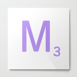 Purple Letter M Scrabble Monogram Metal Print