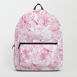 Watercolor pink white hand painted floral Backpack