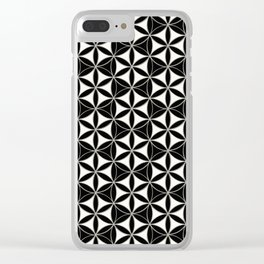 Flower of Life Pattern black-white Clear iPhone Case