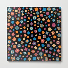 Colorful polygons on Black background Metal Print