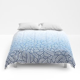 Gradient blue and white swirls doodles Comforters