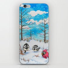 Winter: Two Chickadees and a Cardinal iPhone & iPod Skin