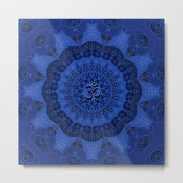 Mandala pattern yoga sign namaste navy dark blue cobalt Metal Print